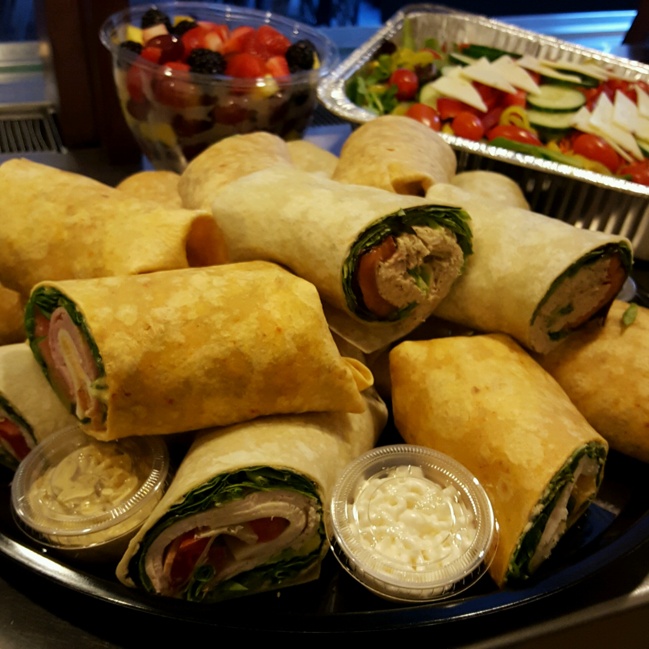 Fresh wraps and salad for catering!